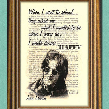 JOHN LENNON Beatles - HAPPY - Dictionary art print - Wall Art - book page print recycled