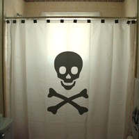 Skull and Crossbones Shower Curtain Jolly Roger Pirates Horror Death Sign of Danger, unique Shower Curtains