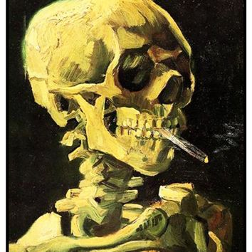 Skull with a Burning Cigarette by Vincent Van Gogh Counted Cross Stitch or Counted Needlepoint Pattern