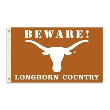 Texas Longhorns: Beware! Longhorn Country Flag; 3'x5'