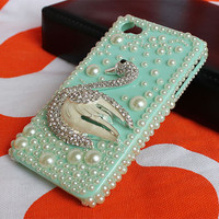 crystal iphone 4 case,pearl  iphone cases 4 4s,blue iphone 4 case with goose.handmand  iphone 4 cases