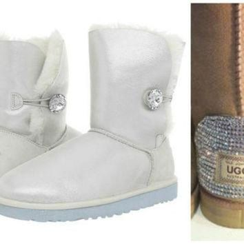 ICIK8X2 Swarovski Crystal Embellished Limited Edition Bailey Button Uggs - Winter / Holiday Bl