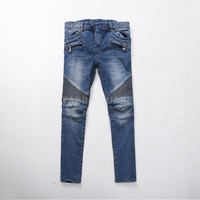 Mens BM Stretch Pintuck Bright Blue Skinny Real Biker Jeans at Fabrixquare