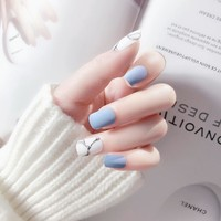 24Pcs White Light Blue Fake Nail Frost Matte Marble Square Artificial Nail Art Tips with Glue Sticker for Office Home Faux Ongle