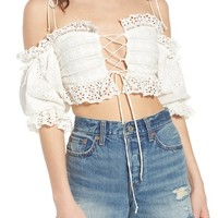 For Love & Lemons Anabelle Eyelet Crop Top | Nordstrom
