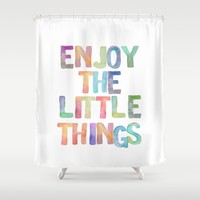 Inspirational Quote Watercolor Letters Typography Print Wall Art Motivational Quote Typography Art Shower Curtain by PrintableLifeStyle