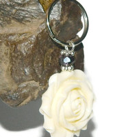 Large Zipper Pull, Flower Key Ring, Luggage Identifier Tag, Keychain With Charm