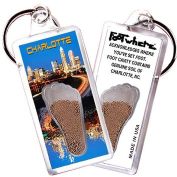 Charlotte FootWhere® Souvenir Keychain. Made in USA