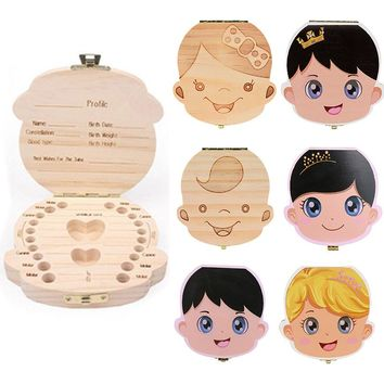 1pcs  English wood baby kids tooth box organizer