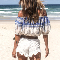 Coyote Off The Shoulder Top – Sky