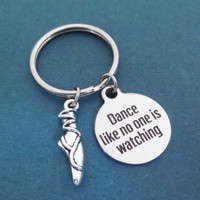 Dance like no one is watching, Toeshoes, Silver, Key ring, Keychain, Gift, Jewelry, Accessory