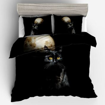 Fashion Black Cat Moon Print Duvet Cover With Fitted Pillowcase