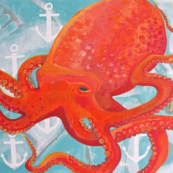 Octopus Art Print. Mangoseed by Christina Rowe. Perfect Beach Decor For A Kids Room, Beach Baby  Nursery, Beach House, Or Any Coastal Space.
