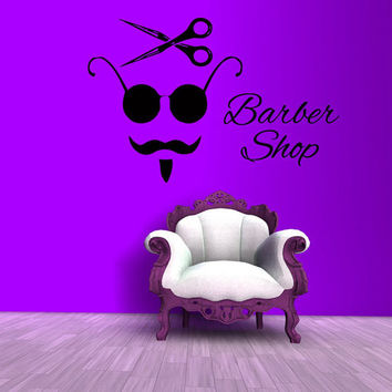 Beauty Salon Wall Decal Barber Shop Decor Vinyl Stickers Men Hair Salon Decor Scissors Art Mural Interior Design Living Room Decor KI162