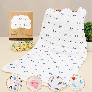 Baby Swaddles 90*90cm Seersckuer  Muslin 6 layers 100% Cotton Newborn Baby Soft Blankets Bath Towel Hold Wraps With Display Box