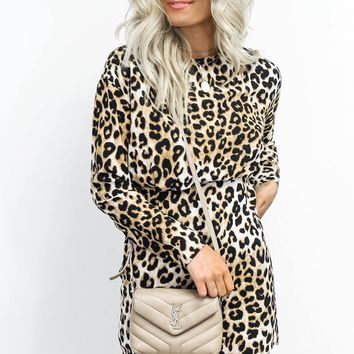 Hot Gossip Long Sleeve Leopard Dress