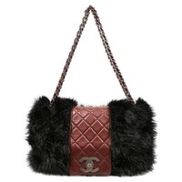 Chanel Bordeaux Fur Arctic Flap Bag