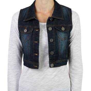 LE3NO Womens Denim Vest Jacket with Pockets (CLEARANCE)