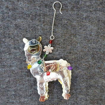 Whimsical Alpaca Ornament with Lights