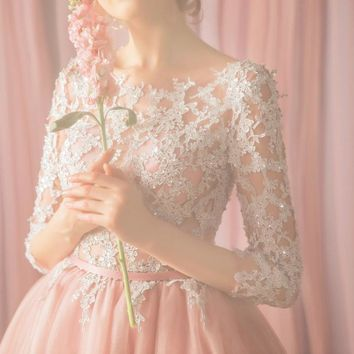 Pink Prom Dresses Knee Length A-line 3/4 Sleeves Lace Applique Beaded Sweet Girls Party Special Occasion Gowns