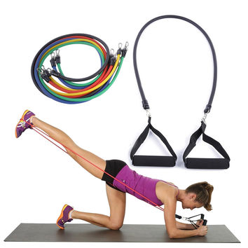 11Pcs/Set Pilates Latex Tubing Expanders Exercise Tubes Practical Strength Resistance Band Sets Crossfit Fitness Equipment