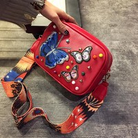 2017 Newest Butterfly Embroidery Rivet Women Pu Leather Crossbody Bags With Wide Belt Female Small Girls Message Bags 132