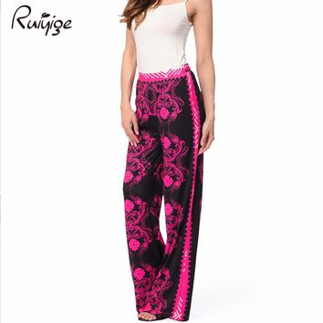 2017 Summer Runway Casual Flare High Waist Loose Floral Pants Women Clothing Print Vintage Trousers Plus Size Rockabilly Pants