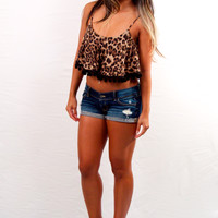 Wonderland Honolulu Pom Pom Crop Top Cheetah