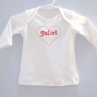 Embroidered Juliet Valentines Day red heart baby Tshirt long sleeve