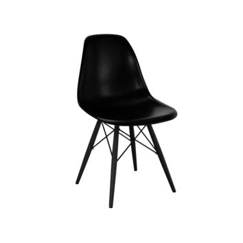 Trige Black Side Chair with Black Wood Base (Set of 2)