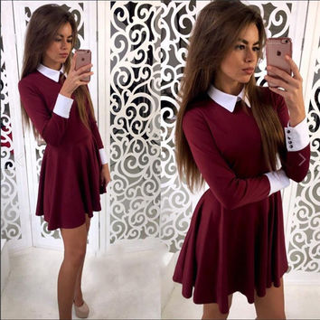 2016 Autumn Winter Dress Fashion Cute Women Turn-Down Collar Casual Dresses Elegant Long Sleeve Office Mini Dress Vestidos GV445