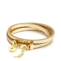 Triple Leather Wrap Padlock Leather Bracelet