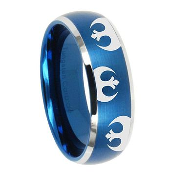 8MM Brush Blue Dome Star Wars Rebel Alliance Tungsten Carbide 2 Tone Laser Engraved Ring