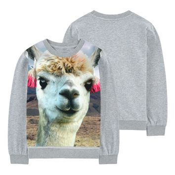 Girls t-shirt cute alpaca design printing Kids long Sleeve Children T-shirt 2-10y