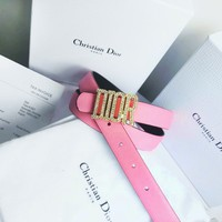 Dior Tide brand men's and women's diamond-encrusted letter head smooth buckle belt Pink