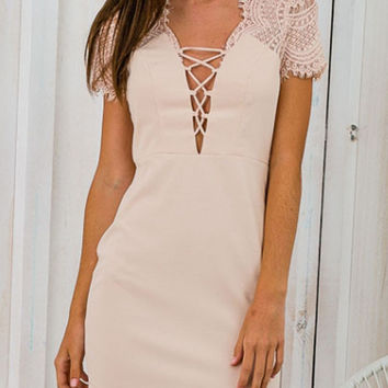 Apricot Plunge Lace Up Front Lace Panel Short Sleeve Bodycon Dress