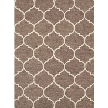 EORC Hand-tufted Wool Light Brown Traditional Trellis Moroccan Rug