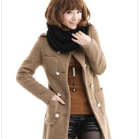 O neck woolen winter coat for women, double breasted casual coat jacket for women