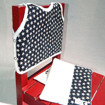Patriotic Gift Set Red White and Blue Stars Bib and by maddywear