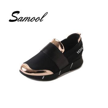 Woman Shoes Hot sale 2018 High Quality Walking Shoes Height Increasing 3cm women black gold Fashion casual flats loafers ly5
