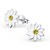 .925 Sterling Silver Hypoallergenic White Flower Stud Earrings for Girls (Nickel Free) --With Gift Box --