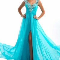 Deep V Neck Evening Gown by Mac Duggal