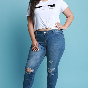 Plus Size Destroyed Denim Skinny Jeans | UrbanOG