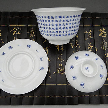Porcelain Tureen, Chinese Tea Cup with Handwriting Buddhism Heart Sutra
