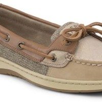 Sperry Top-Sider Angelfish Sparkle Suede 2-Eye Boat Shoe Linen/NaturalSparkleSuede, Size 6M  Women's Shoes
