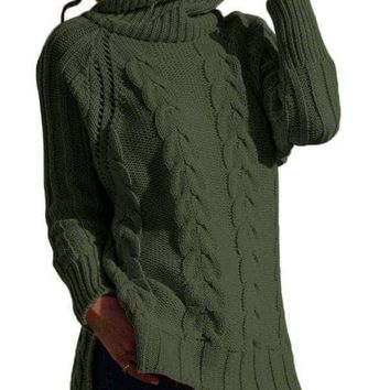 Green Turtle Neck Long Tail Cable Sweater