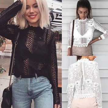 Women Long Sleeve Sexy Lace Floral Shirt Tops Hollow-out Female Blouse