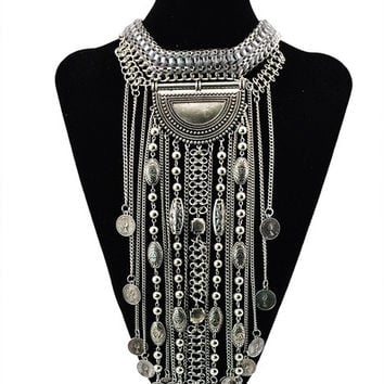 European Style Vintage Silver Weave Chunky Chain Multielement Etnic Jewelry Multilayer Long Tassel Chains Statement Necklace (Color: Silver) = 1946222468