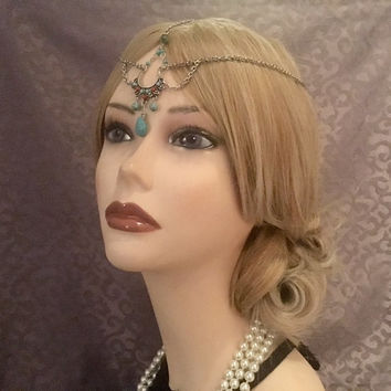 Silver 1920's Boho Flapper Art Deco style Headchain 20s Jazz Era Head Chain Headband Band Headpiece 1920s Head Gatsby 20's Goddess Grecian