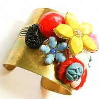 Carnival Cuff Bracelet-Primary Colored Vintage Glass and Resin,Adjustable